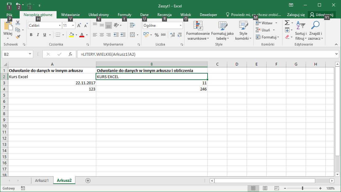 Kurs Excel Podstawy - Adresowanie komórek Excel - w innym arkuszu