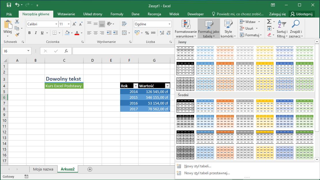 Kurs Excel Podstawy - Formatowanie komórek Excel - Style tabeli