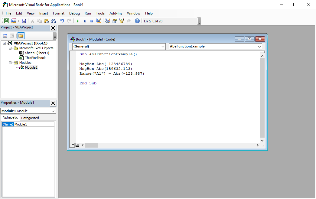 Funkcje VBA Excel – Funkcja Abs VBA