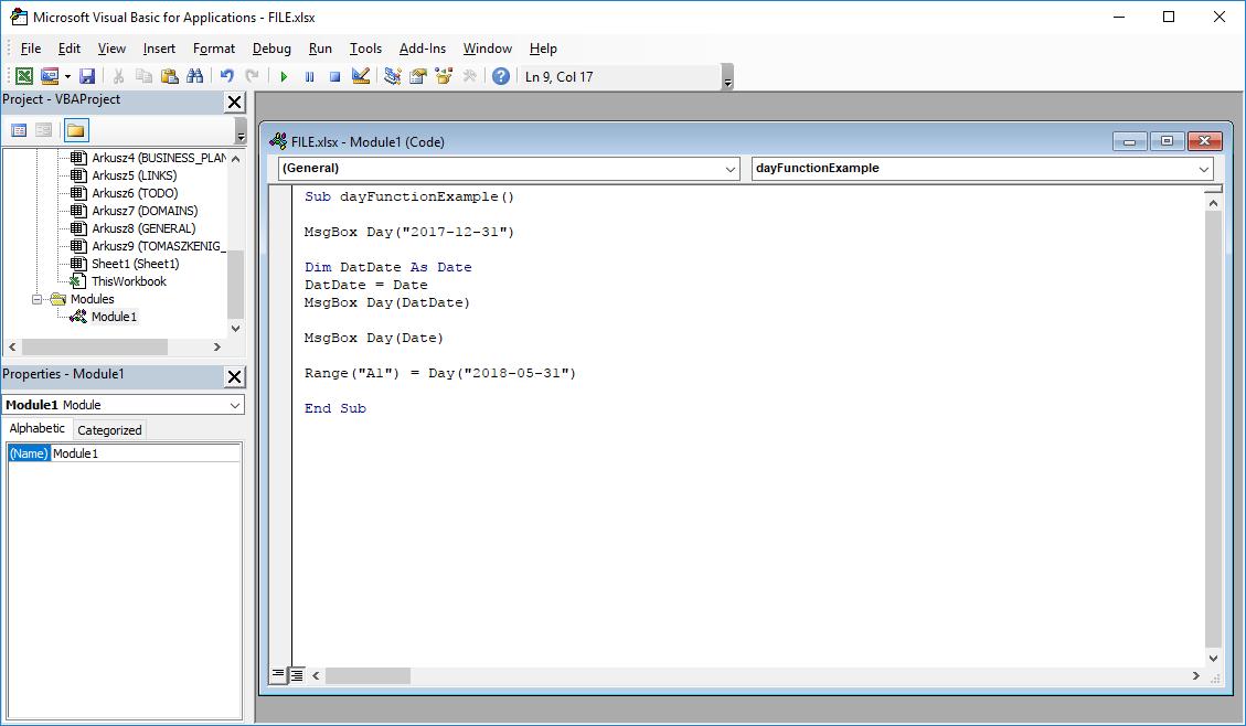 Funkcje VBA Excel – Funkcja Day VBA