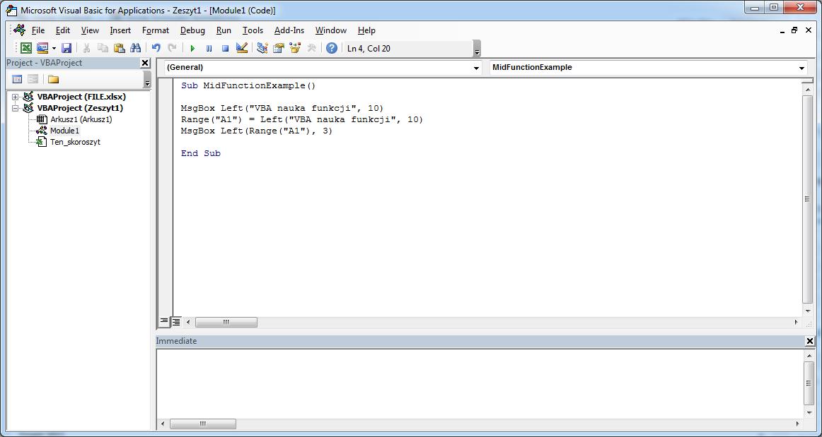 Funkcje VBA Excel – Funkcja Left VBA