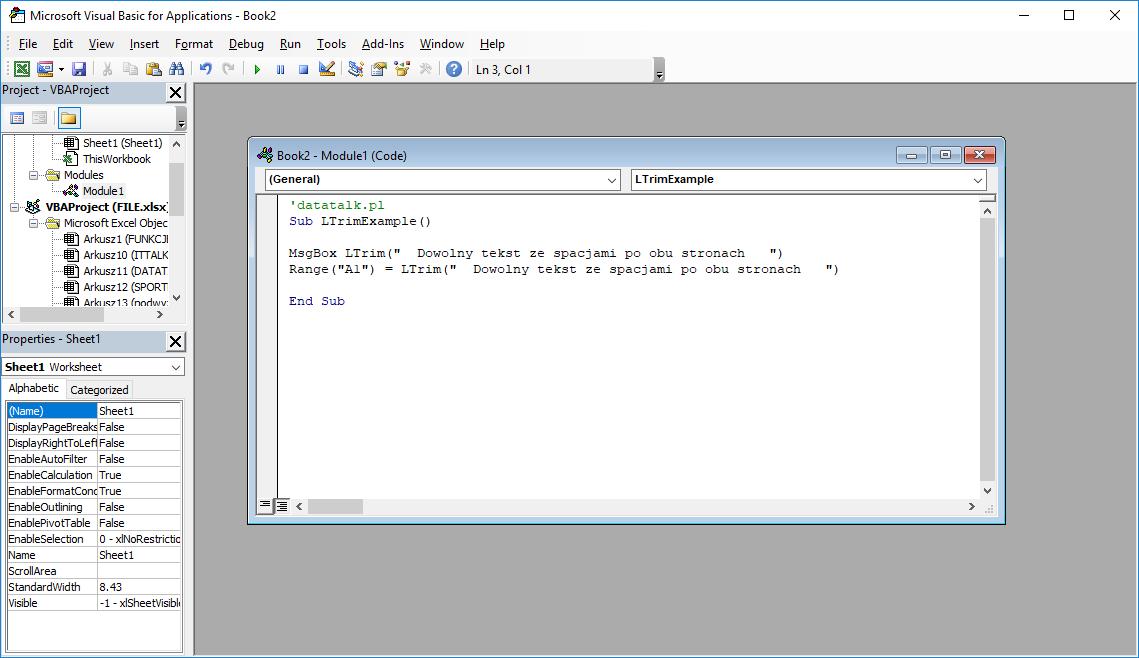 Funkcje VBA Excel – Funkcja LTrim VBA
