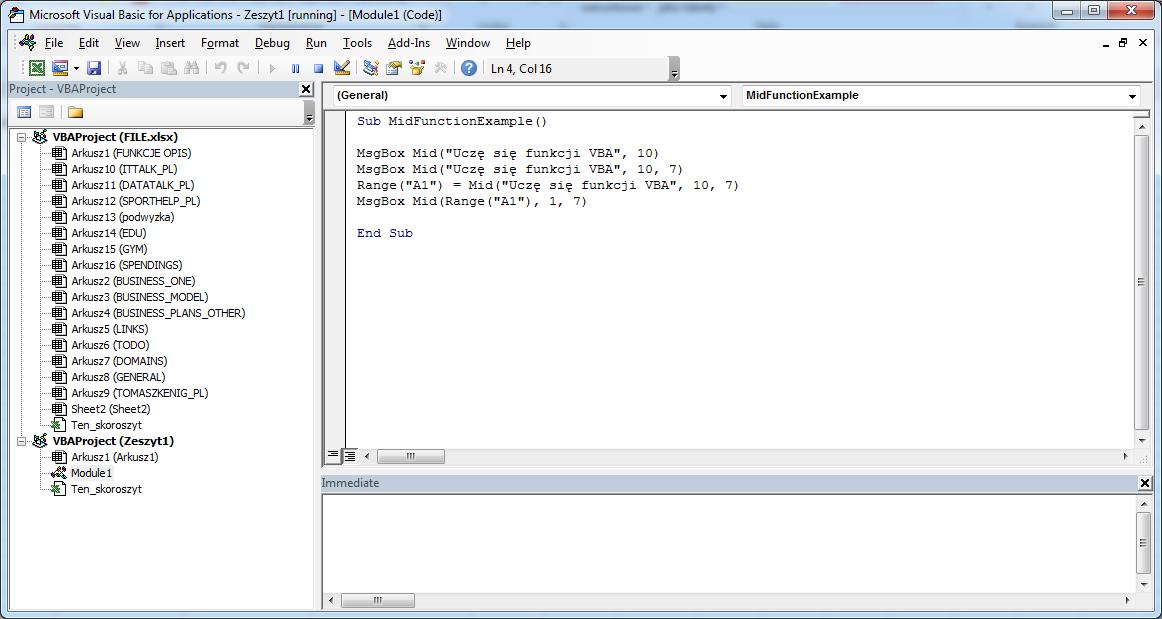Funkcje VBA Excel - Funkcja MID VBA