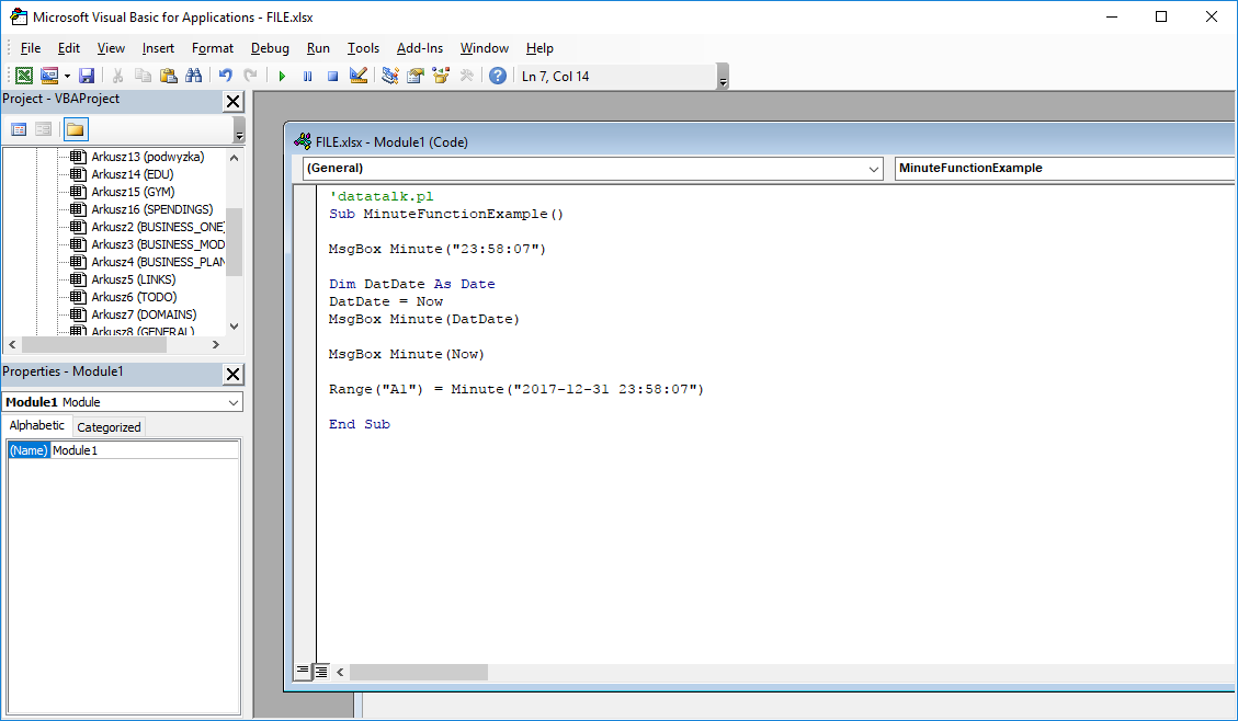 Funkcje VBA Excel – Funkcja Minute VBA