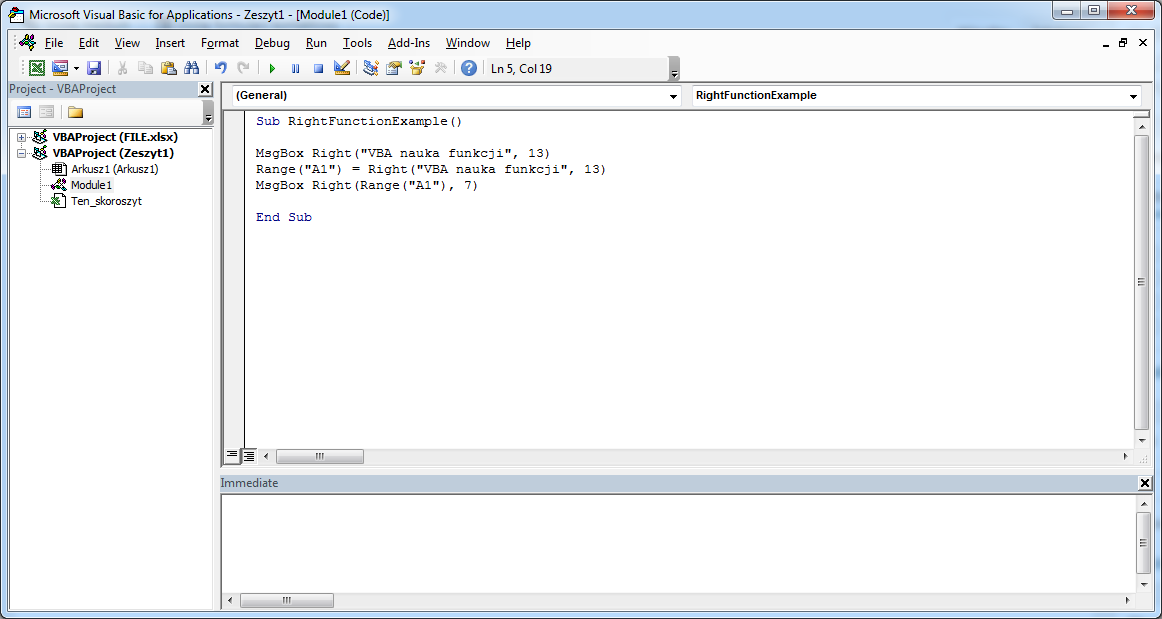 Funkcje VBA Excel – Funkcja Right VBA