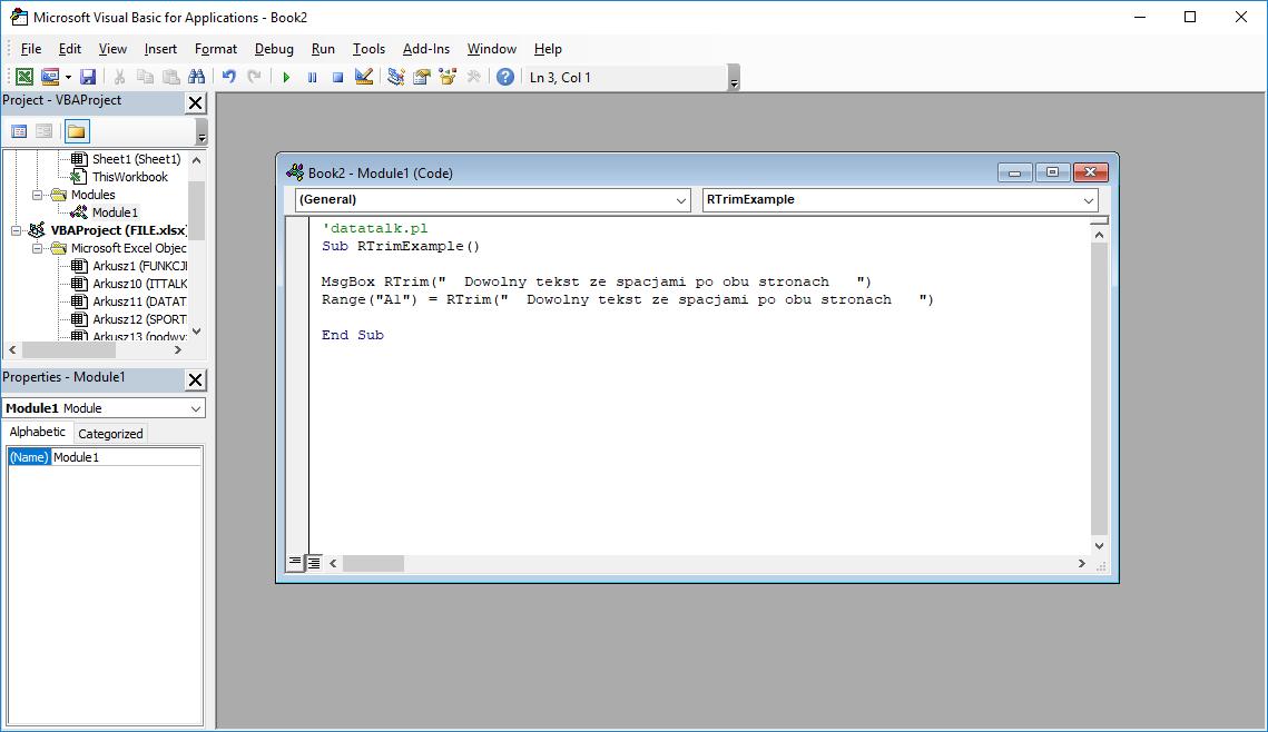 Funkcje VBA Excel – Funkcja RTrim VBA