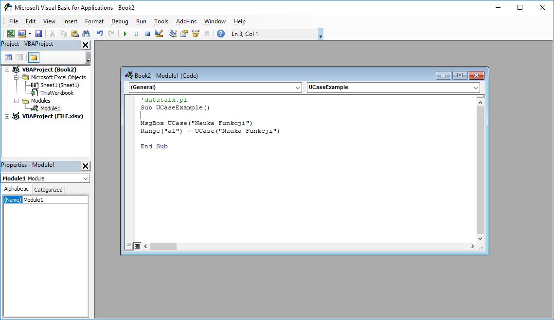 Funkcje VBA Excel – Funkcja UCase VBA