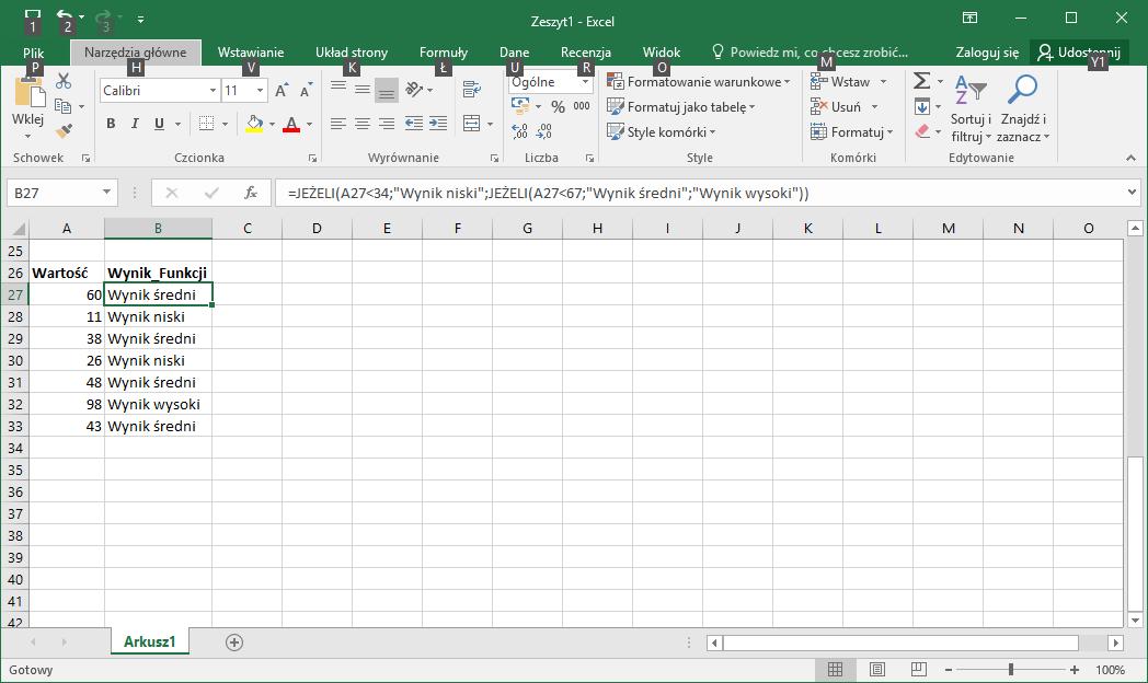 Funkcje Excel – Formuła Excel JEŻELI