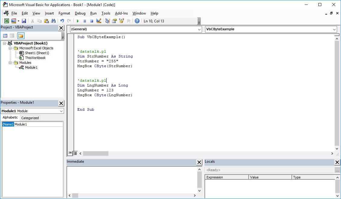 Funkcje VBA Excel – Funkcja CByte VBA
