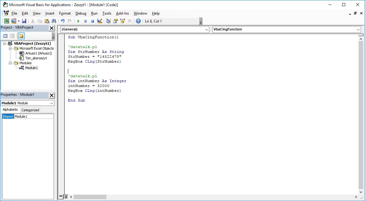 Funkcje VBA Excel – Funkcja CLng VBA