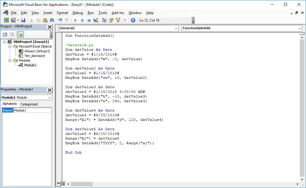 Funkcje VBA Excel – Funkcja DateAdd VBA