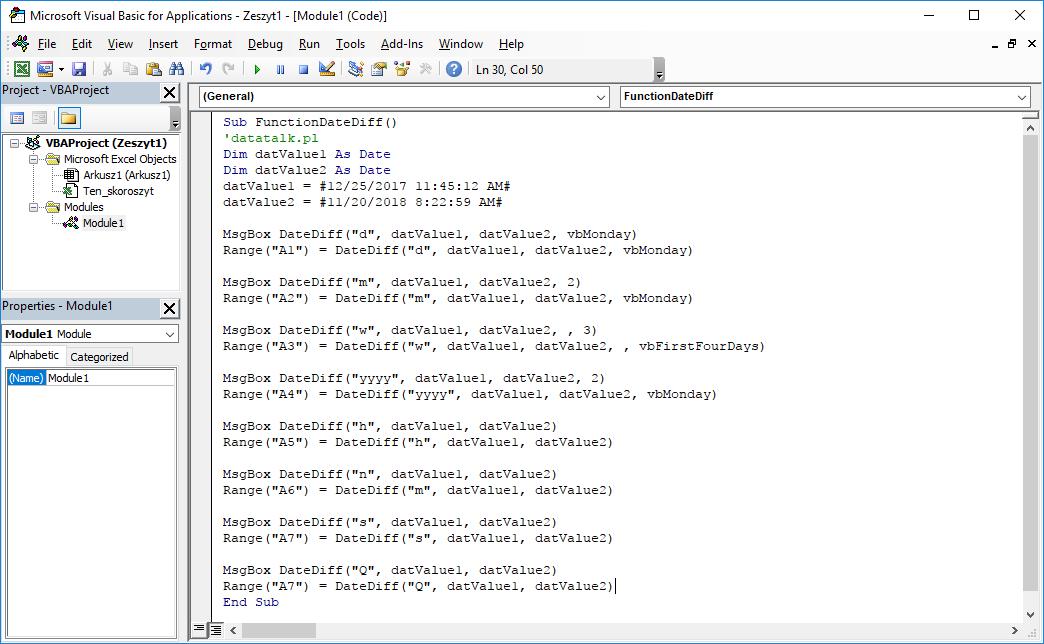 Funkcje VBA Excel – Funkcja DateDiff VBA