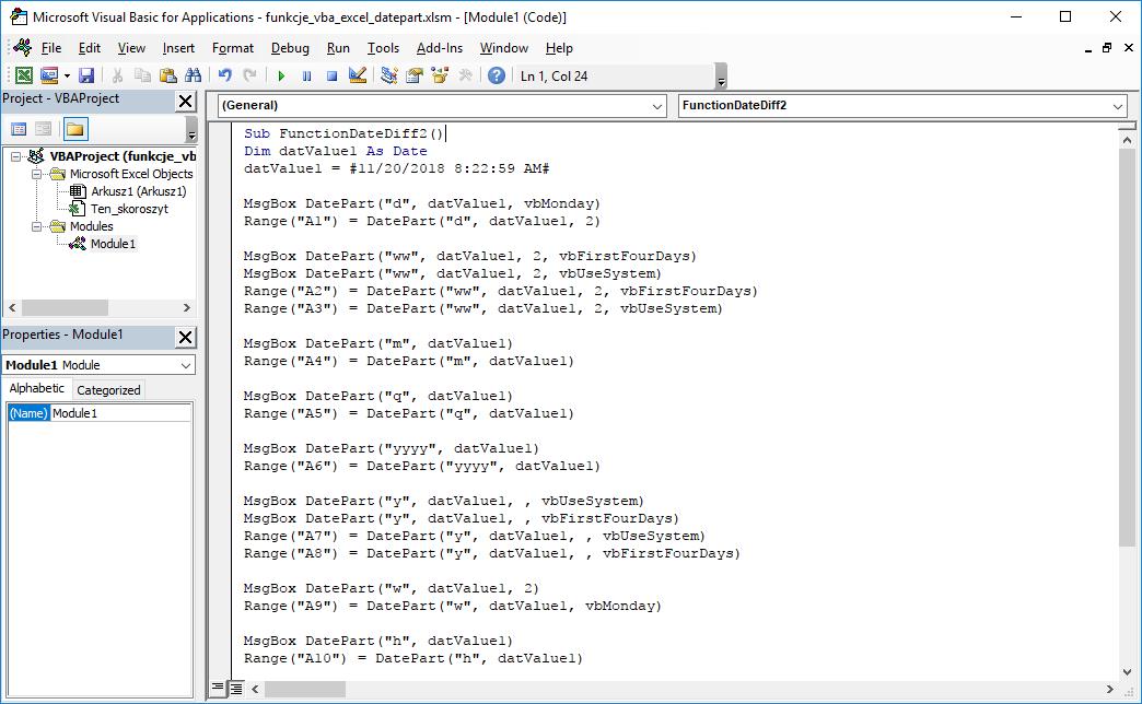 Funkcje VBA Excel – Funkcja DatePart VBA