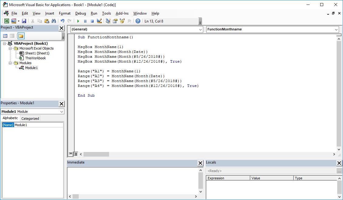 Funkcje VBA Excel – Funkcja MonthName VBA