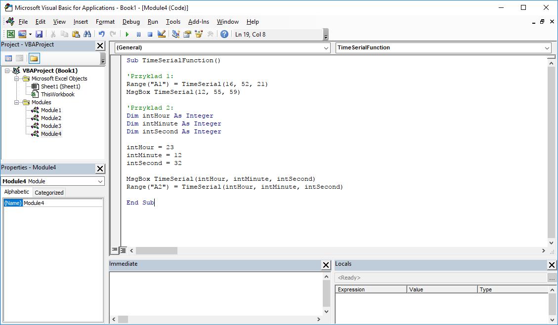 Funkcje VBA Excel – Funkcja TimeSerial VBA