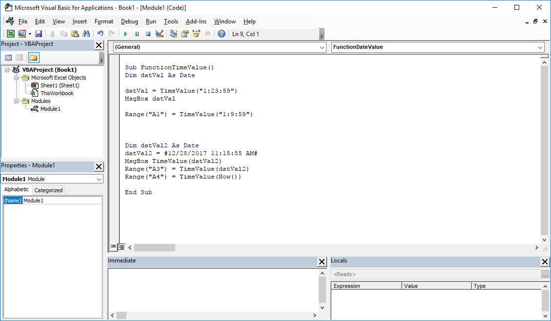 Funkcje VBA Excel – Funkcja TimeValue VBA