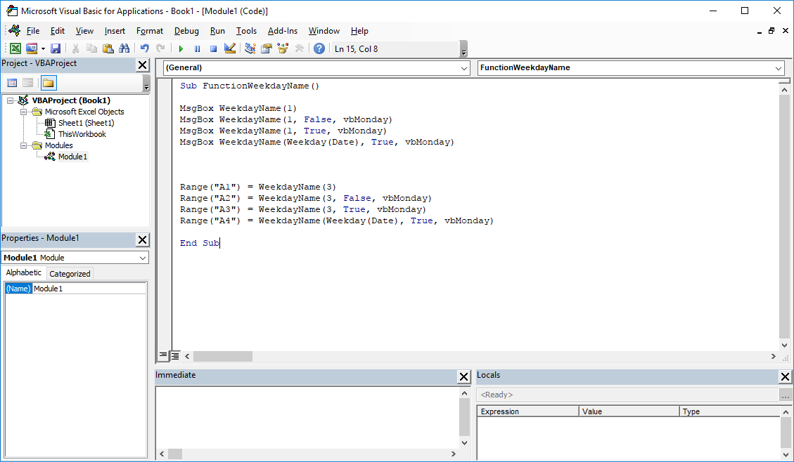 Funkcje VBA Excel – Funkcja WeekdayName VBA