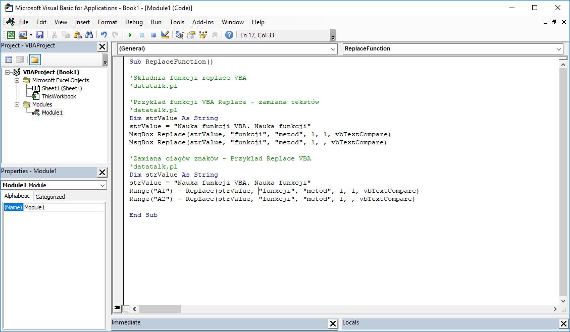 Funkcje VBA Excel – Funkcja Replace VBA