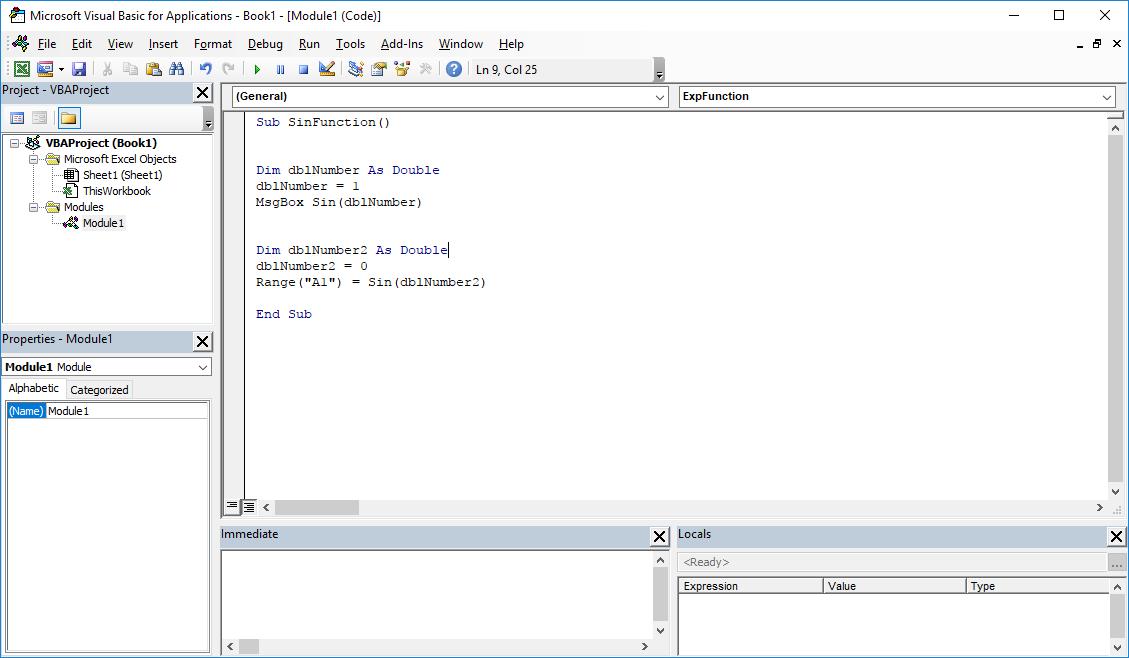Funkcje VBA Excel – Funkcja Sin VBA