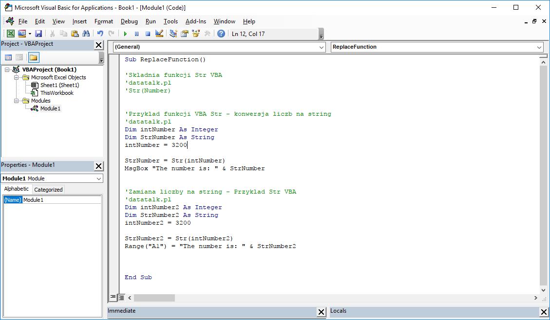 Funkcje VBA Excel – Funkcja Str VBA