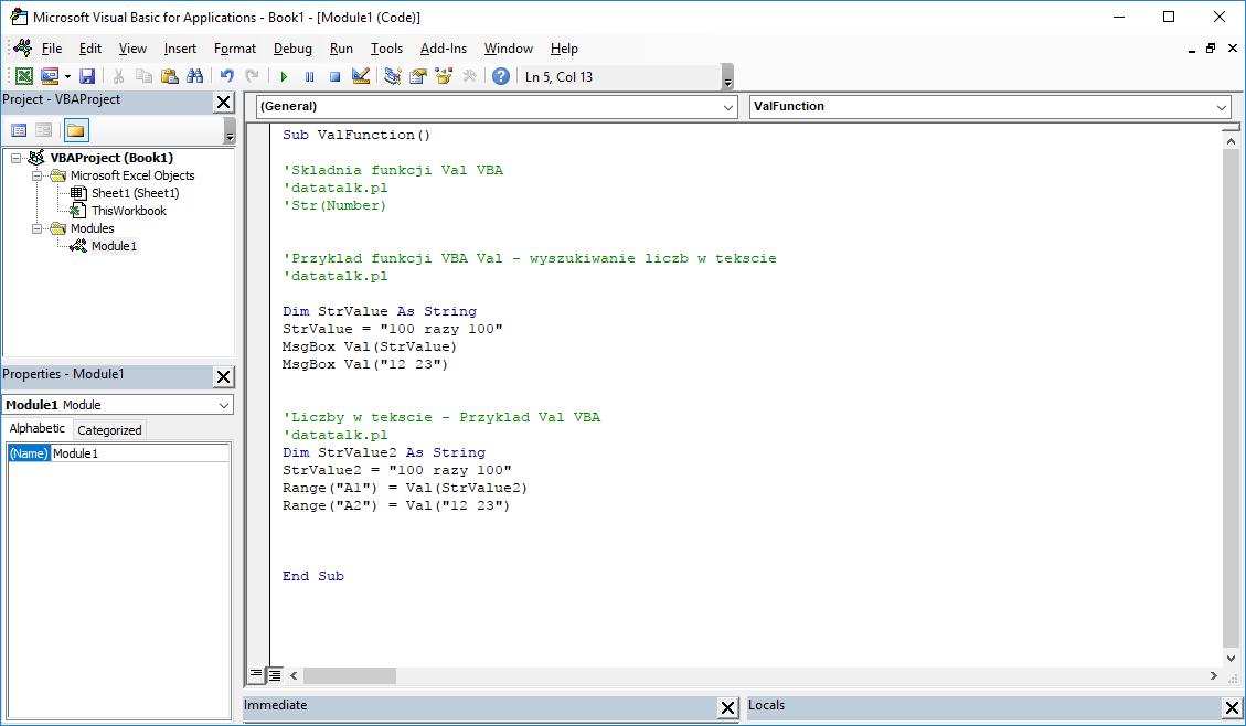 Funkcje VBA Excel – Funkcja Val VBA