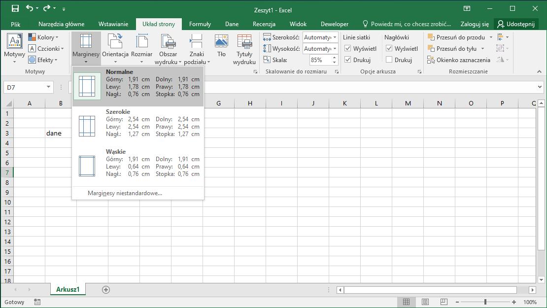 Kurs Excel Podstawy - Drukowanie marginesy Excel