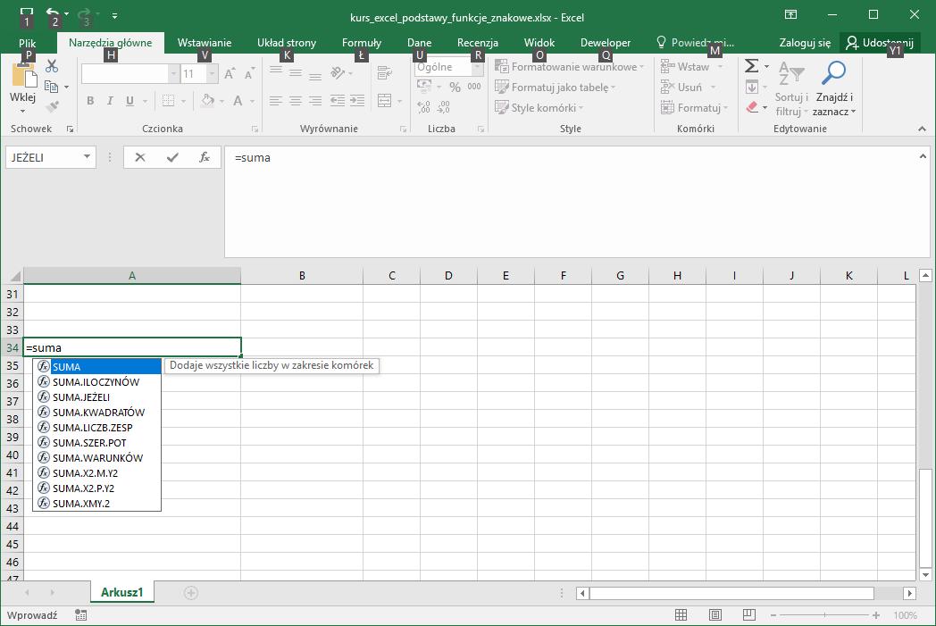 Kurs Excel Podstawy - Excel funkcje