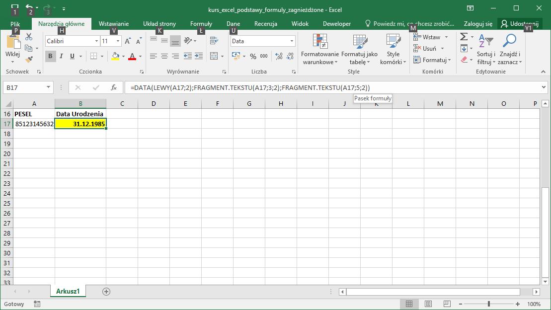 Kurs Excel Podstawy - zagnieżdżanie formuł