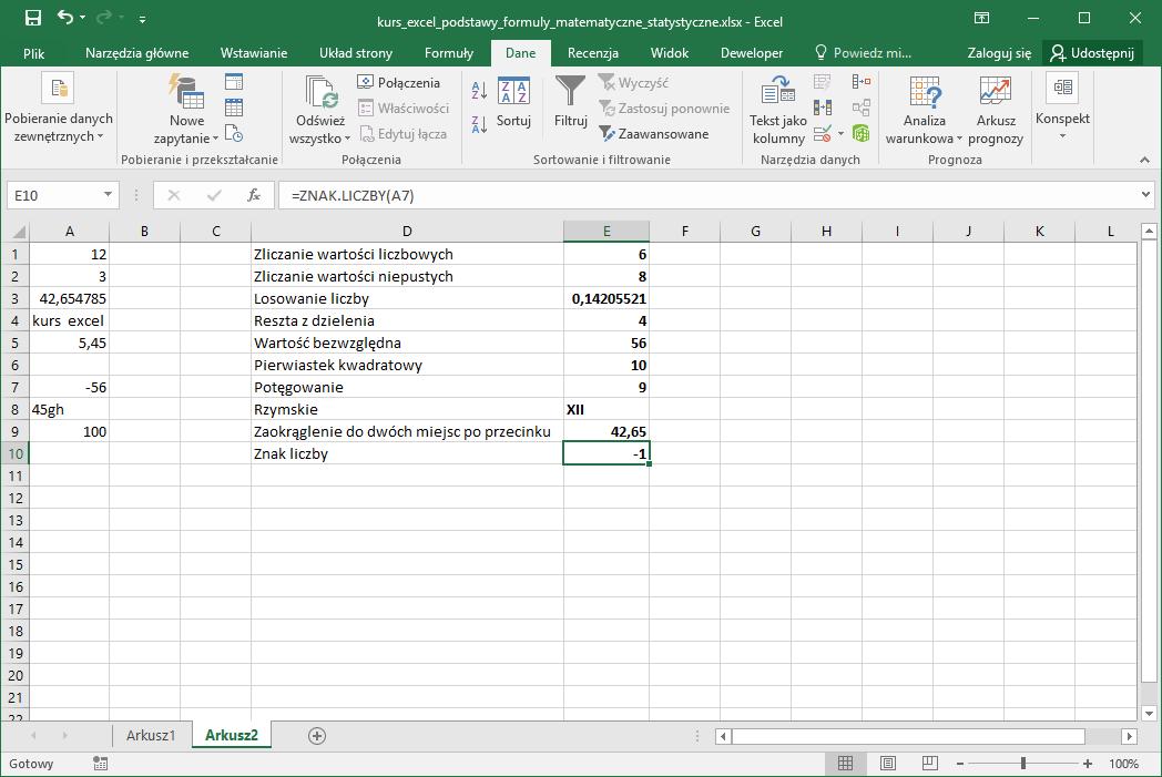 Kurs Excel podstawy - Formuły matematyczne i statystyczne