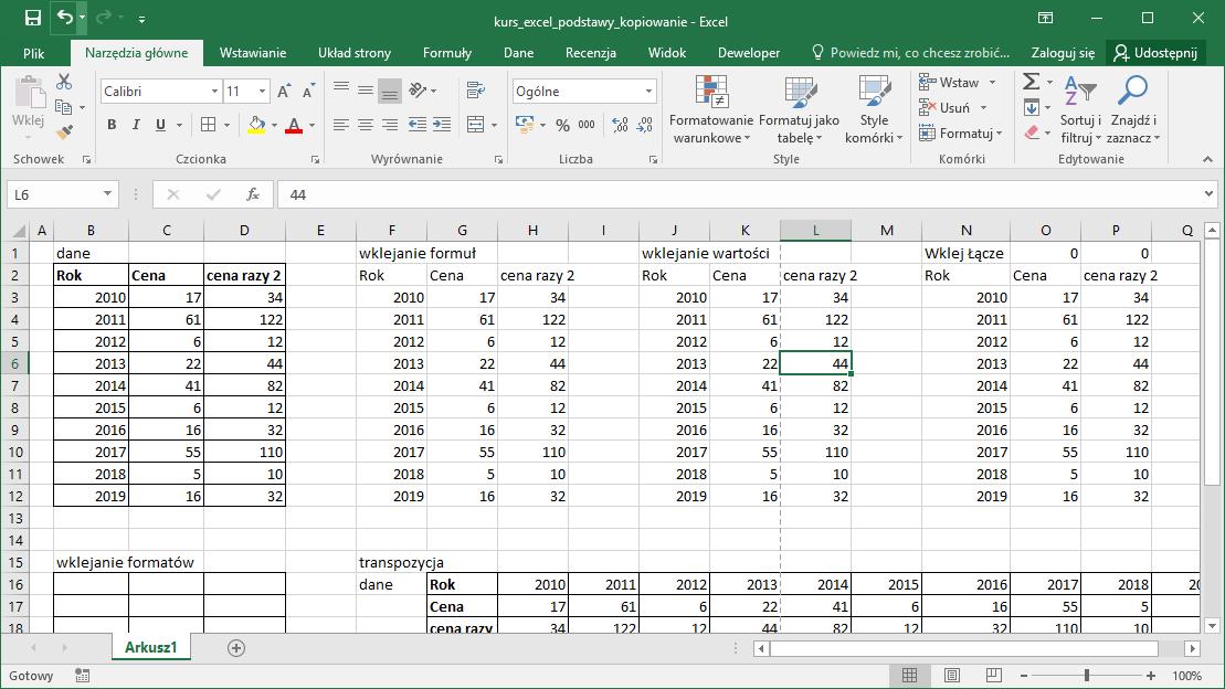 Kurs Excel Podstawy - Kopiowanie Excel
