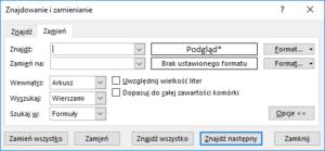 Kurs Excel - Znajdź i zamień