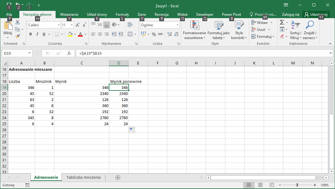 Kurs Excel Podstawy - Adresowanie mieszane