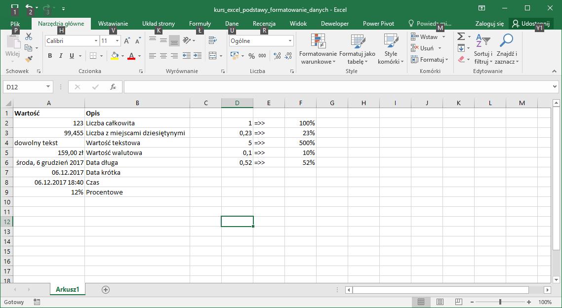 Kurs Excel Podstawy - Excel formatowanie wartości. Excel procent.