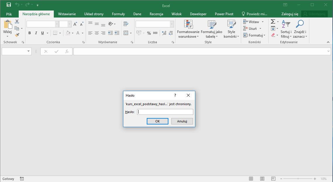 Kurs Excel Podstawy - Excel hasło