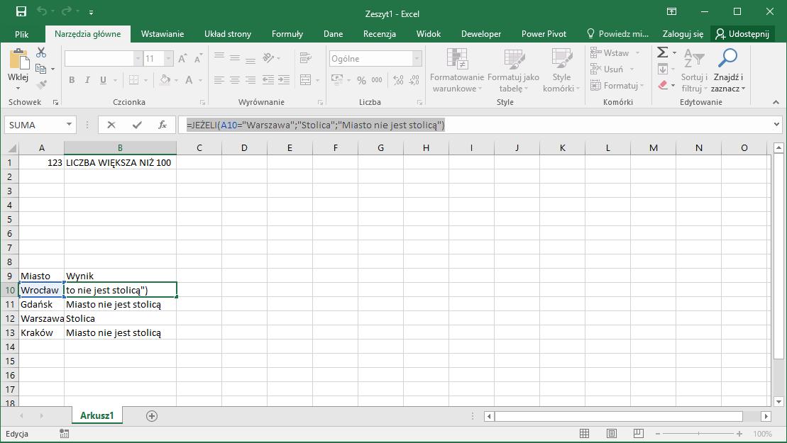 Kurs Excel Podstawy - Funkcja JEŻELI dla początkujących