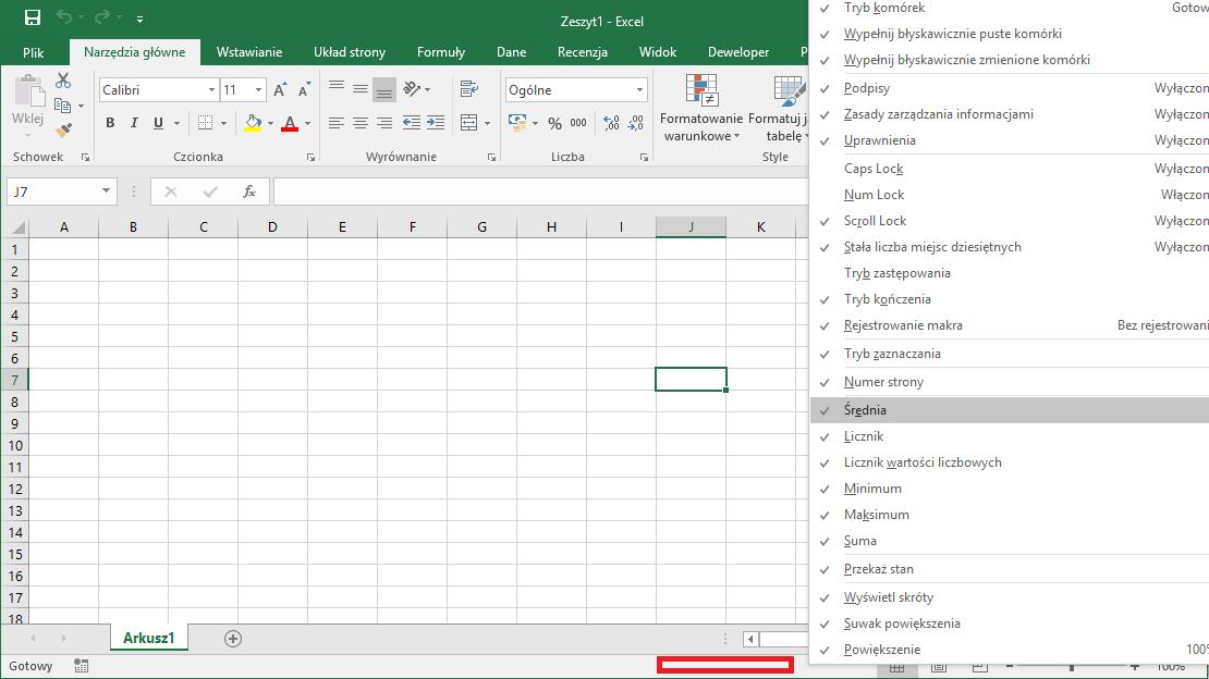 Kurs Excel Podstawy - Pasek stanu Excel szybkie obliczenia