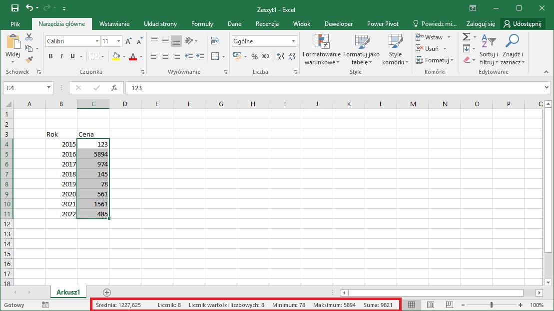 Kurs Excel Podstawy - szybkie obliczenia na pasku