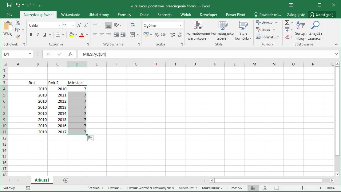 Kurs Excel Podstawy - przeciąganie komórek i wzorów