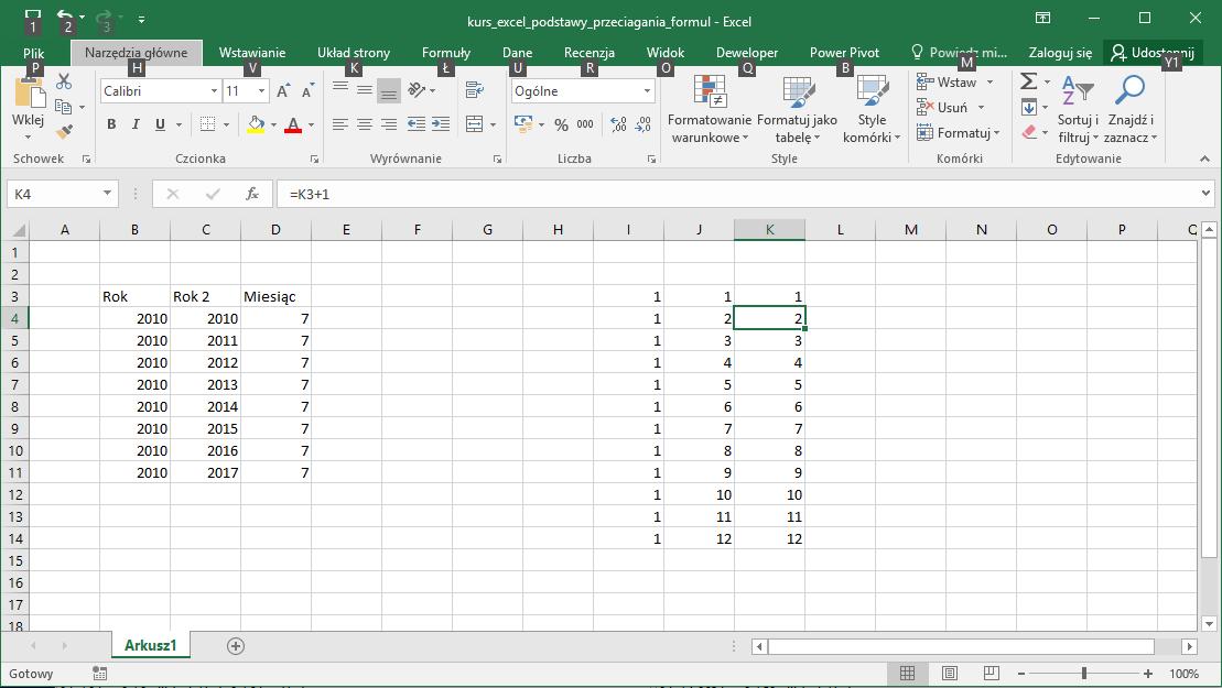 Kurs Excel Podstawy - przeciąganie formuł. Tworzenie kolejnych liczb