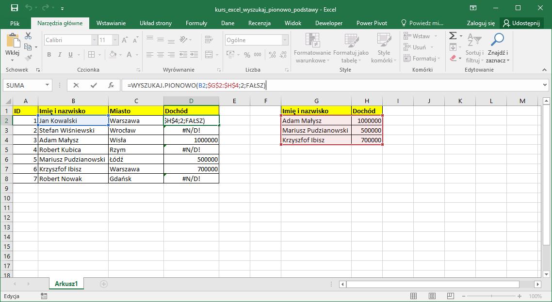 Kurs Excel Podstawy - Excel wyszukaj pionowo