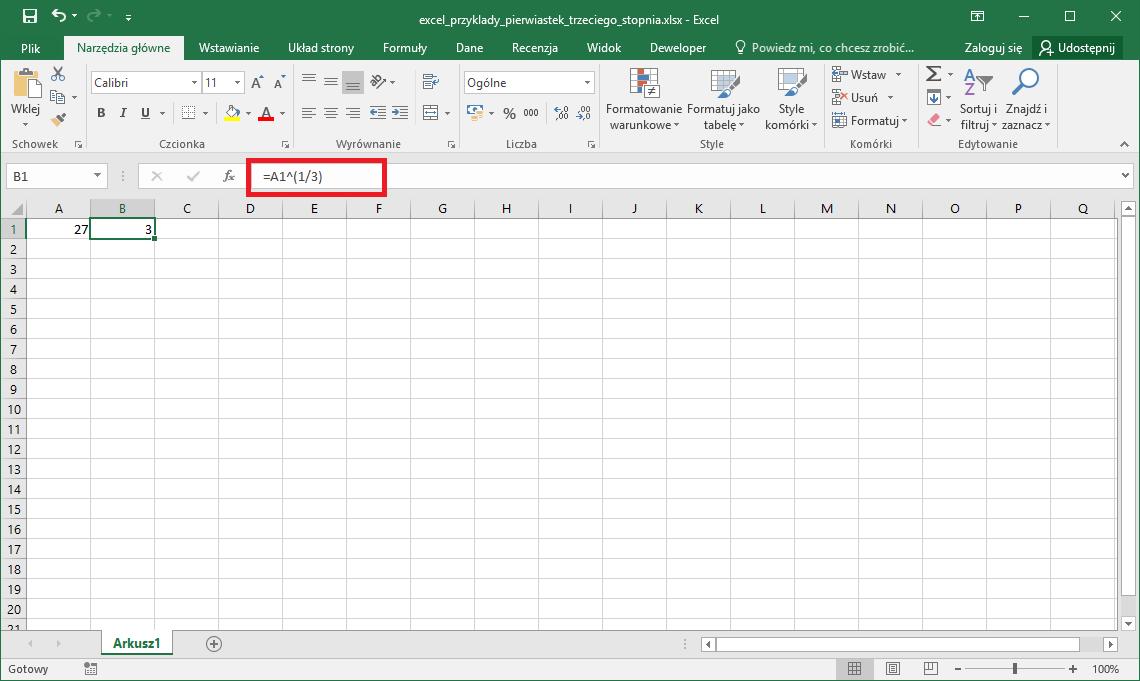 Excel przykłady - Pierwiastek trzeciego stopnia Excel