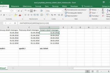 Excel przykłady - Jak obliczyć ostatni dzień miesiąca w Excel
